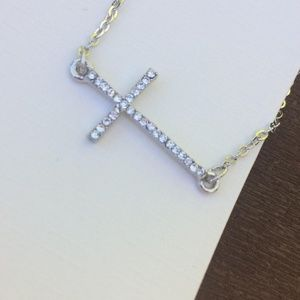New Freedom Cross Crystal Sideways Necklace